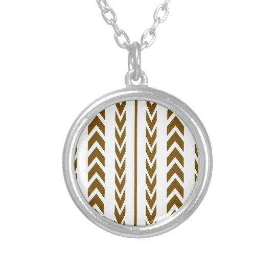 Brown Tire Tread Silver Plated Necklace