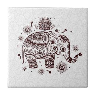 Brown Tones Cute Retro Floral Elephant Tile