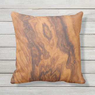 Brown Tones Faux Wood Outdoor Cushion