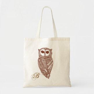 Brown Tones Line Drawing Owl Tote Bag