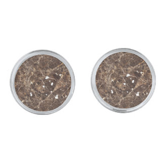 Brown Tones Nature Marble Stone Silver Finish Cuff Links