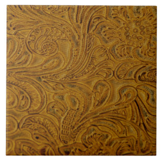 Brown Tooled Leather-Look Tile