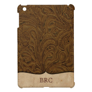 Brown Tooled Leather Look Western Personalized iPad Mini Cases
