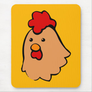brown toon chicken face mouse pad