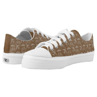 Brown Travel Planes and Bicycles Low Tops