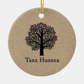 Brown Tree Hugger Ceramic Ornament