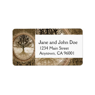 Brown Tree of Life Pattern Address Label