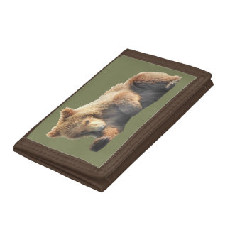 Brown TriFold Nylon Wallet with bear cub
