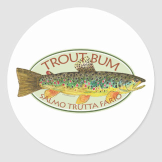 Brown Trout Fly Fishing Angling Classic Round Sticker