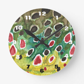 Brown Trout Fly Fishing Fisherman Angler Round Clock