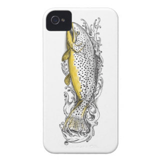 Brown Trout Swimming Up Tattoo iPhone 4 Cover