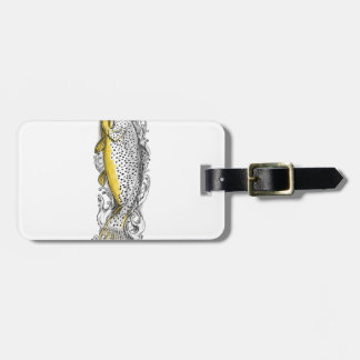 Brown Trout Swimming Up Tattoo Luggage Tag
