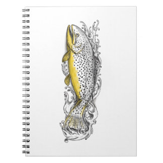 Brown Trout Swimming Up Tattoo Notebooks