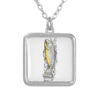 Brown Trout Swimming Up Tattoo Silver Plated Necklace