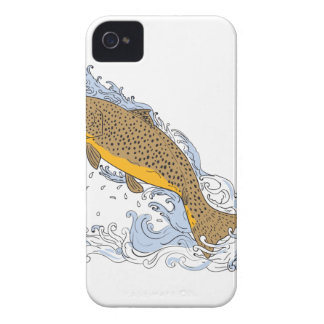 Brown Trout Swimming Up Turbulent Water Drawing Case-Mate iPhone 4 Case