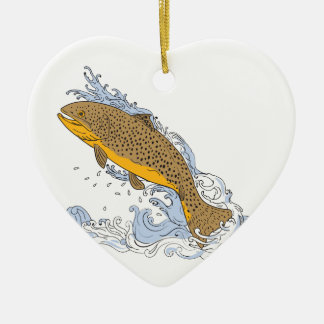 Brown Trout Swimming Up Turbulent Water Drawing Ceramic Ornament