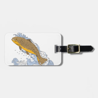Brown Trout Swimming Up Turbulent Water Drawing Luggage Tag