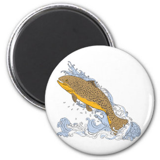 Brown Trout Swimming Up Turbulent Water Drawing Magnet