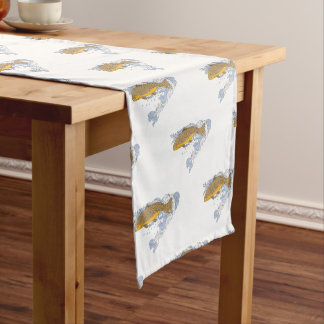 Brown Trout Swimming Up Turbulent Water Drawing Short Table Runner