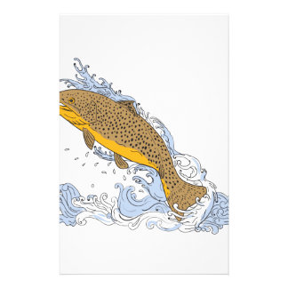 Brown Trout Swimming Up Turbulent Water Drawing Stationery