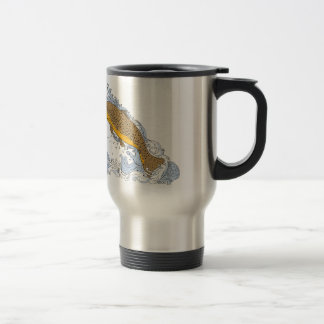 Brown Trout Swimming Up Turbulent Water Drawing Travel Mug
