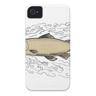 Brown Trout Waves Tattoo iPhone 4 Case