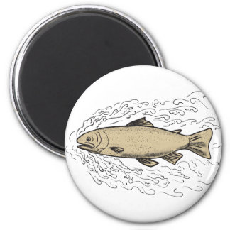 Brown Trout Waves Tattoo Magnet