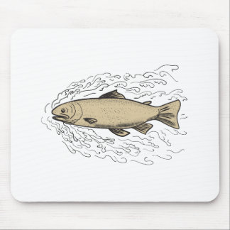 Brown Trout Waves Tattoo Mouse Pad