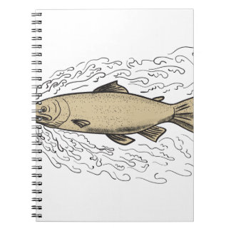 Brown Trout Waves Tattoo Notebooks