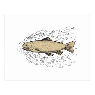 Brown Trout Waves Tattoo Postcard