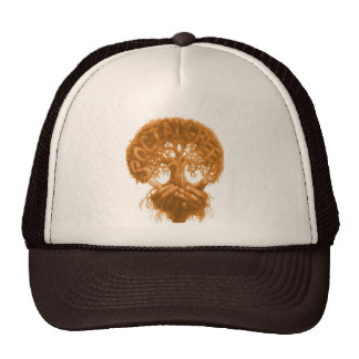 Brown trucker hat w/ tree design
