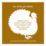 Brown turkey square Thanksgiving invitation card