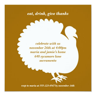"Brown turkey square Thanksgiving invitation card 5.25"" Square Invitation Card"