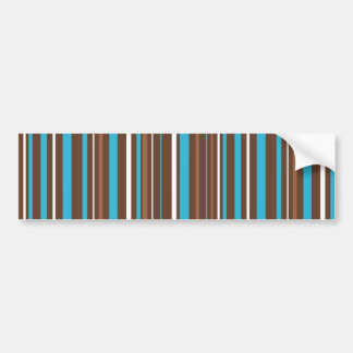 Brown Turquoise and White Stripes Bumper Sticker