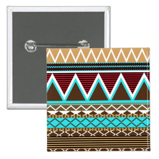 Brown & Turquoise Modern Tribal Button