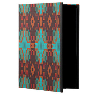 Brown Turquoise Orange Rustic Cabin Mosaic Pattern
