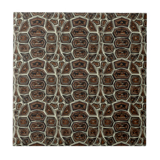 Brown Turtle Shell Pattern Small Square Tile