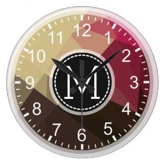 Brown Tuscan Pink Mosaic Modern Monogram Large Clock