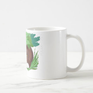 Brown Tuxedo Cat Shelters under Maple Leaves When Coffee Mug