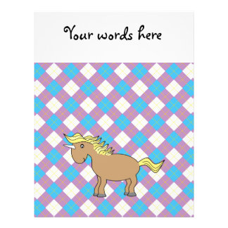 Brown unicorn on purple and blue argyle background full color flyer