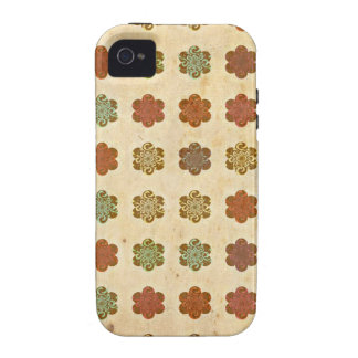 Brown Vintage Abstract Flowers Art Pattern iPhone 4/4S Covers