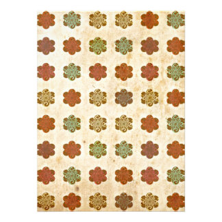 Brown Vintage Abstract Flowers Art Pattern Personalized Invites