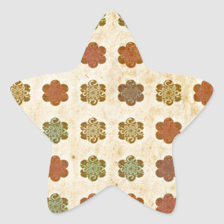 Brown Vintage Abstract Flowers Art Pattern Stickers