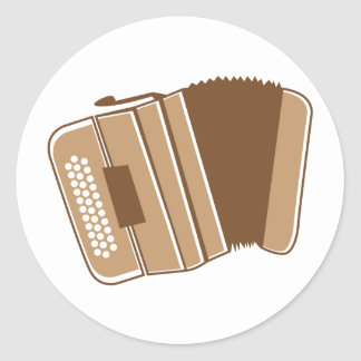 Brown vintage accordion classic round sticker