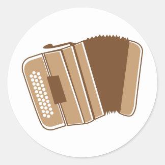 Brown vintage accordion round sticker