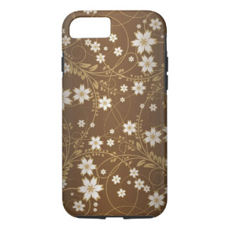 brown vintage flowers swirl abstract vector art iPhone 7 case