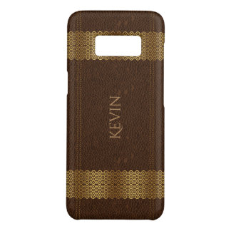 Brown Vintage Leather With Gold Stripes Case-Mate Samsung Galaxy S8 Case