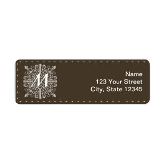 Brown Vintage Monogram Business Return Address Label