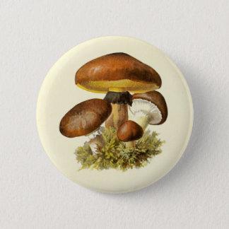 Brown Vintage Mushroom 6 Cm Round Badge