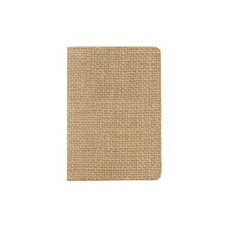 Brown vintage rustic burlap texture passport holder